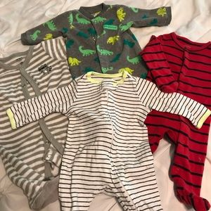 Lot of 4 footed NB jammies